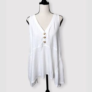 ANTHROPOLOGIE Maeve White Cotton Button Tank Top